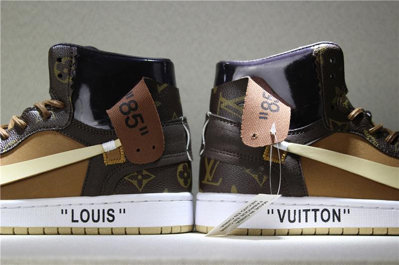 26eb06244ff7148b0b6c92c047d094a3 - Louis Vuitton x OFF-WHITE x Air Jordan 1 Louis卡其 男款貨號:AQ0818-202 喬1OFF三方聯名LV
