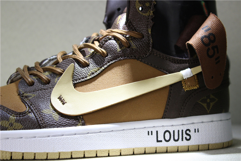 33b0f2770a2a658f6acb3b1fef600101 - Louis Vuitton x OFF-WHITE x Air Jordan 1 Louis卡其 男款貨號:AQ0818-202 喬1OFF三方聯名LV