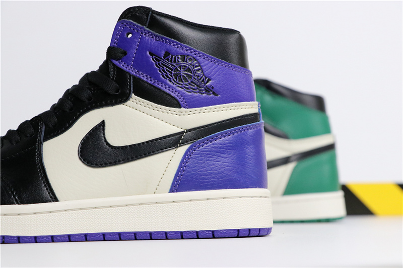 3a417e810344b7f115de9ebde0d355b3 - Air Jordan 1 Pine Green X Court Purple 黑綠紫腳趾陰陽 情侶款 高筒 熱銷款