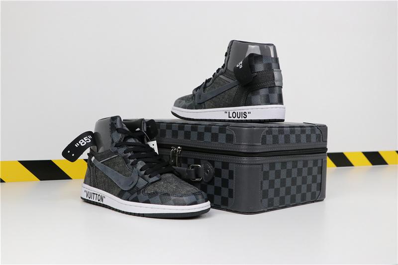 55fb1252dab3609c1b47b608069fbc9d - LV x off white x Air Jordan 1 喬丹1代三方聯名款 黑灰色 情侶款 新品駕到❤️