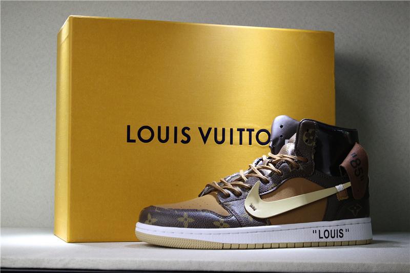 934081a0c1eadae82c595d2900ba5763 - Louis Vuitton x OFF-WHITE x Air Jordan 1 Louis卡其 男款貨號:AQ0818-202 喬1OFF三方聯名LV