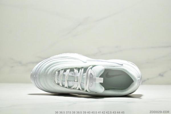 17ec92ccacbf16ae80b8099a56debb35 - Nike Air Max 97 大勾子彈復古全掌氣墊休閒運動鞋 情侶款 白色