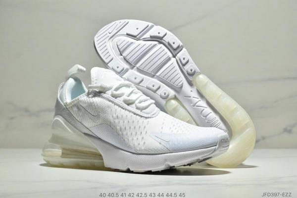 1c27ca39c062ed92f12a4c435f3ccdd2 - NIKE Air Max 270 Triple Black 系列 後跟半掌高彈氣墊 休閒運動 男鞋 白色