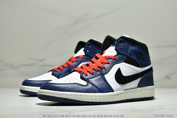 20e67659f98dfbba0a8823d45799cfea - NIKE Air Jordan 1 Mid AJ1中幫白藍紅小閃電 情侶款
