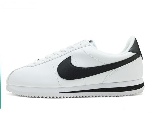 0da94b897638c7f9223aa138ae13c525 - Nike Cortez 經典款 阿甘鞋 白皮面黑鉤 情侶鞋 819719-100