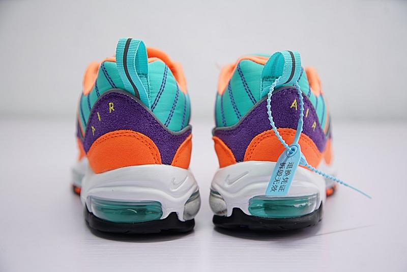 146d487aea701a53683a8f1535734fd0 - Nike Air Max 98 復古 氣墊 慢跑鞋 橙紫 湖水藍 情侶款 924462-800 1