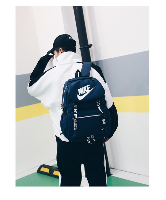 1586c79d158b47d26a09409b5e9f3126 - Nike 大logo 新款 雙肩包 情侶款 學生 書包 藍色 時尚 百搭 NK-61183
