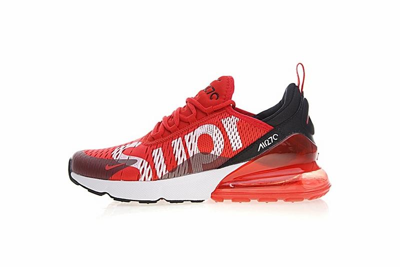 1e677af27518d8d375727cf34171932a - Supreme x Nike Air Max 270聯名系列 後跟半掌氣墊 慢跑鞋 紅白黑 男款 時尚 百搭 AH8050-610