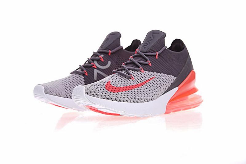 30021ddb1a46eae546acf28dadb12981 - Nike Air 270 Flyknit 飛織 氣墊 深灰桔紅 情侶款 慢跑鞋 時尚 百搭 AO1023-202