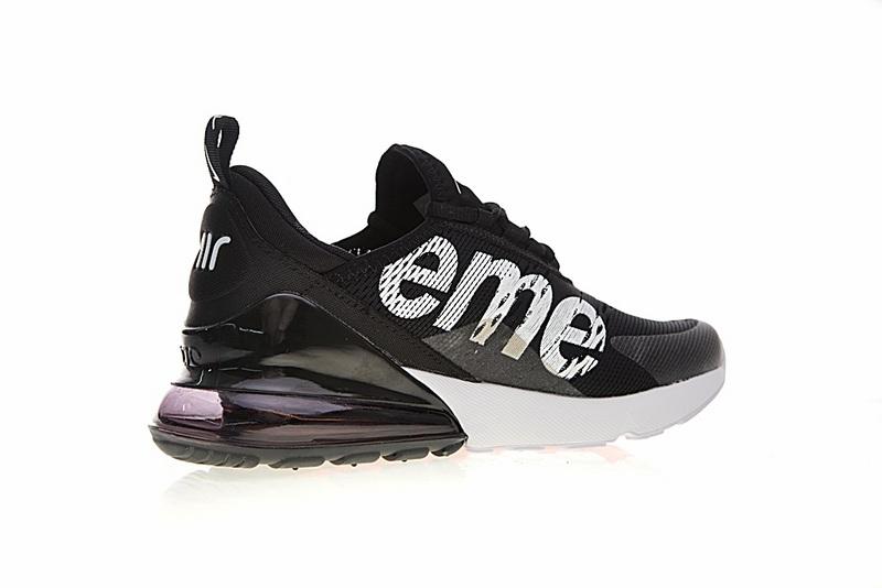 32ece64a335b11f99f931cf7b4d4431d - Supreme x Nike Air Max 270系列 後跟半掌氣墊 慢跑鞋 黑白 男款 潮鞋 百搭 AH8050-001