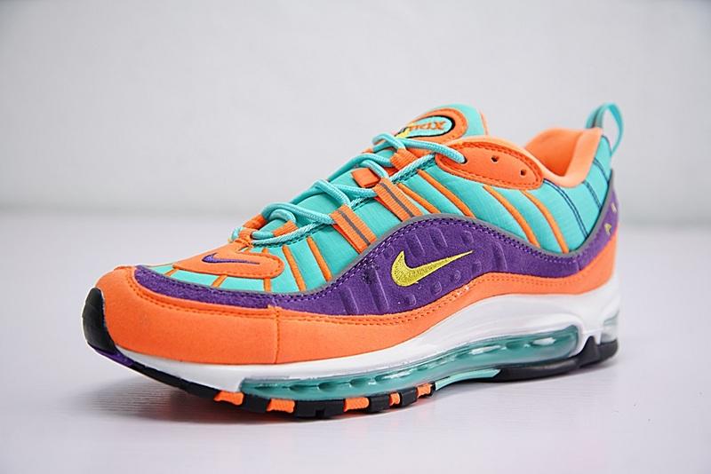 42799665f7b2c0568f41bf53e037dd43 - Nike Air Max 98 復古 氣墊 慢跑鞋 橙紫 湖水藍 情侶款 924462-800 1