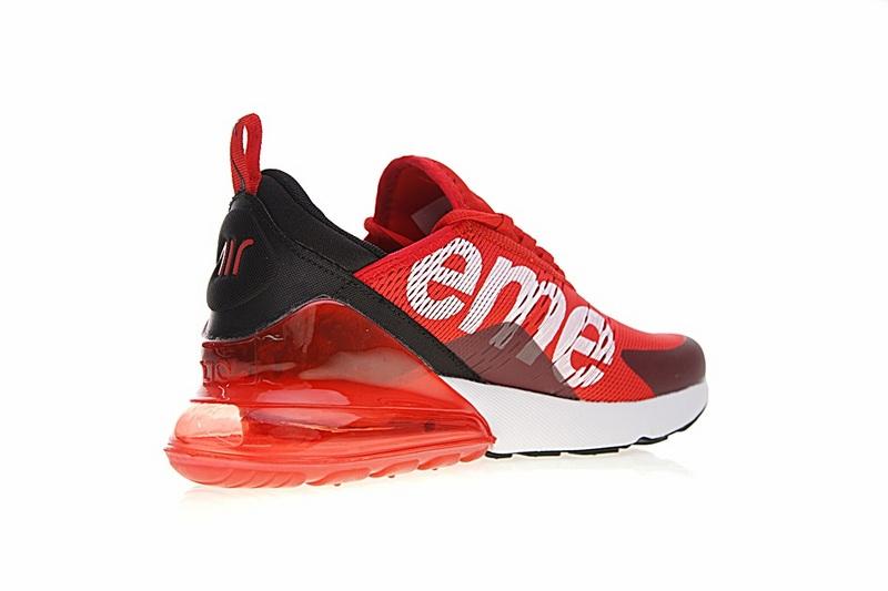 4c0140289054179c7fdc2299ef3bbc2e - Supreme x Nike Air Max 270聯名系列 後跟半掌氣墊 慢跑鞋 紅白黑 男款 時尚 百搭 AH8050-610