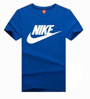 4f06d31bb4df9e4b1e80f27feaf4de85 - NIKE 情侶款 夏季新款 基礎 純棉T恤 藍色 白色Logo 吸汗 透氣 時尚百搭
