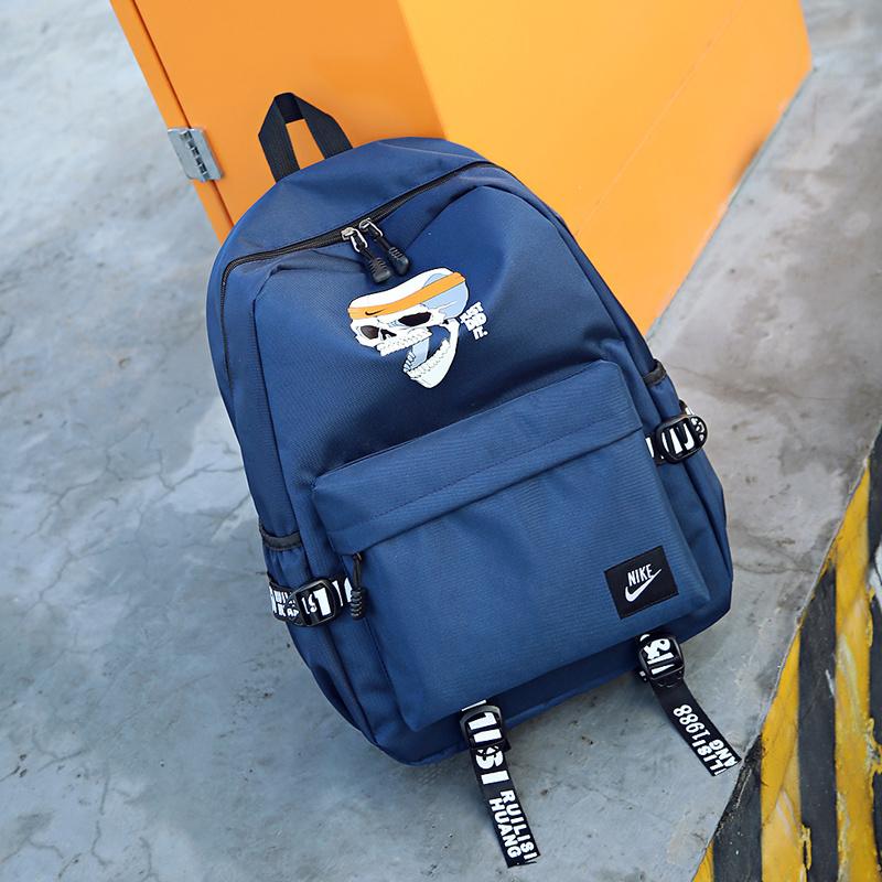 57ac81c1a95a43fb44e15b821527e190 - 骷髏頭新款 Nike 雙肩包 後背包 時尚 街頭風 運動包 流蘇 藍色