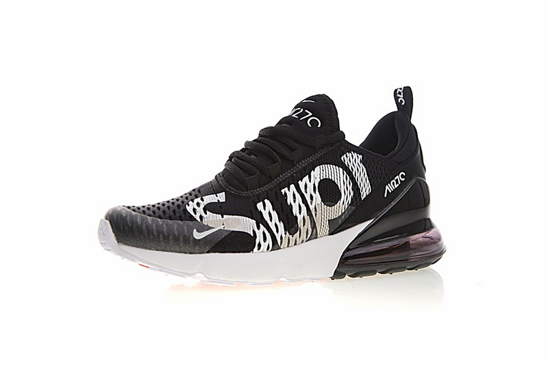 57ff931cf3552c400a61c587518abed2 - Supreme x Nike Air Max 270系列 後跟半掌氣墊 慢跑鞋 黑白 男款 潮鞋 百搭 AH8050-001