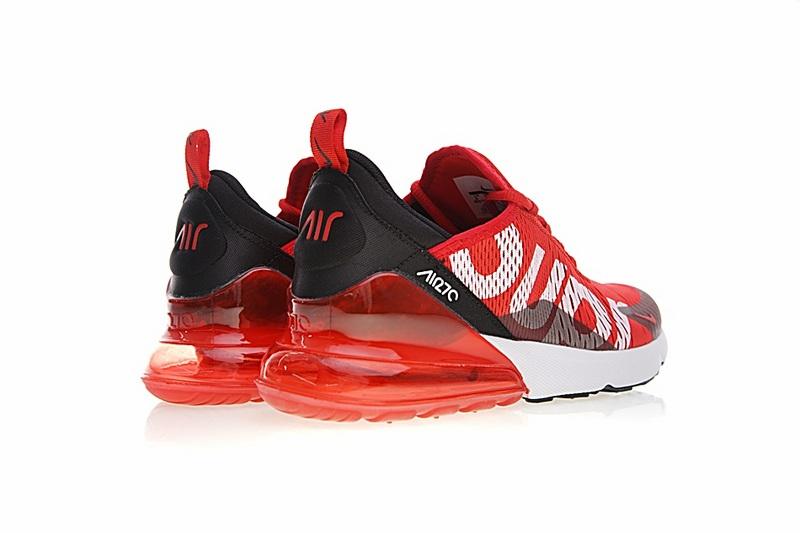 5990e4e033d8b31507a33fb2f572f662 - Supreme x Nike Air Max 270聯名系列 後跟半掌氣墊 慢跑鞋 紅白黑 男款 時尚 百搭 AH8050-610