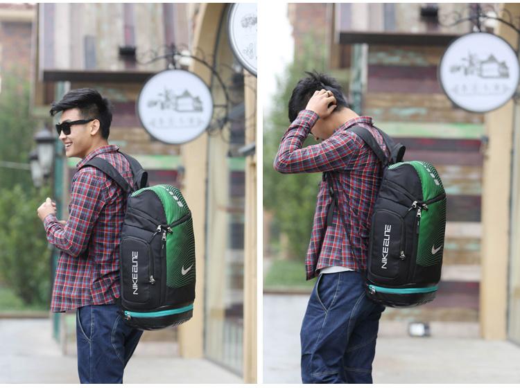 5c4497fad3aa8b2d453e5ace93b5a2c8 - NIKE 情侶款 雙肩包 帆布 後背包 大容量 黑綠 時尚 百搭 厚19*寬30*高52