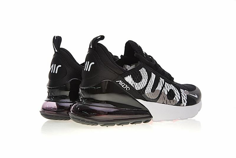 6762d9abc976ed250d95a619b1956c99 - Supreme x Nike Air Max 270系列 後跟半掌氣墊 慢跑鞋 黑白 男款 潮鞋 百搭 AH8050-001