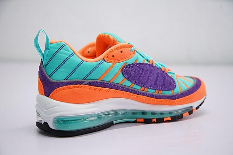 7a8c43a6f8b2f5920bc339cf49013a2c - Nike Air Max 98 復古 氣墊 慢跑鞋 橙紫 湖水藍 情侶款 924462-800 1