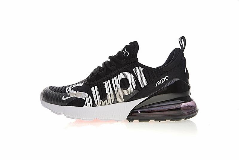 82748f8c4dc4aeb92b42b7f00d46cd64 - Supreme x Nike Air Max 270系列 後跟半掌氣墊 慢跑鞋 黑白 男款 潮鞋 百搭 AH8050-001