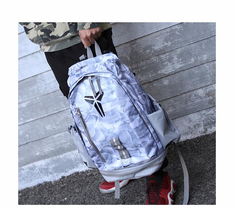 a97de2b368da7133f1347e8252de28b2 - 羽毛款科比 Nike Kobe 籃球包 大容量 雙肩包 旅行包 學生書包 鞋袋包 灰白 49*27*19