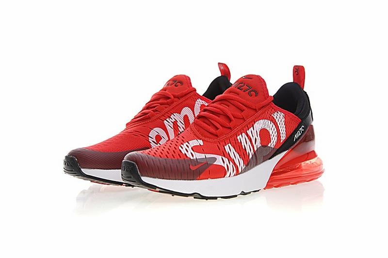 bf7dd64c658ed1aecfd37fbf0dba0eeb - Supreme x Nike Air Max 270聯名系列 後跟半掌氣墊 慢跑鞋 紅白黑 男款 時尚 百搭 AH8050-610