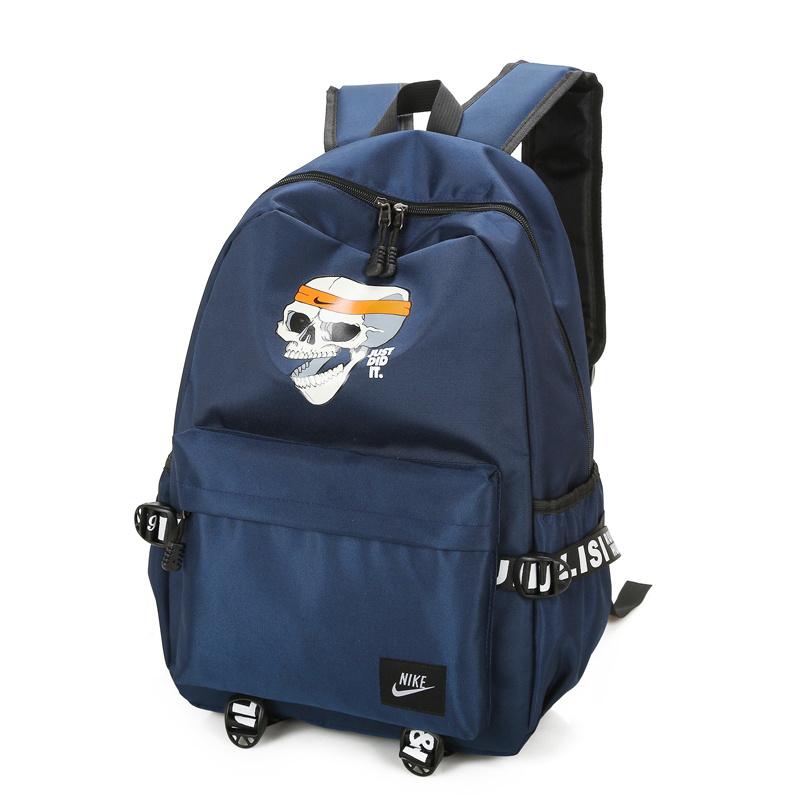 d74739c9e4419bc2a4a3c52fb47056ae - 骷髏頭新款 Nike 雙肩包 後背包 時尚 街頭風 運動包 流蘇 藍色