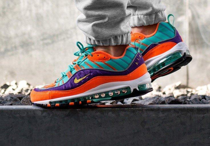 e524574e9b502998946f4f650d467116 - Nike Air Max 98 復古 氣墊 慢跑鞋 橙紫 湖水藍 情侶款 924462-800 1