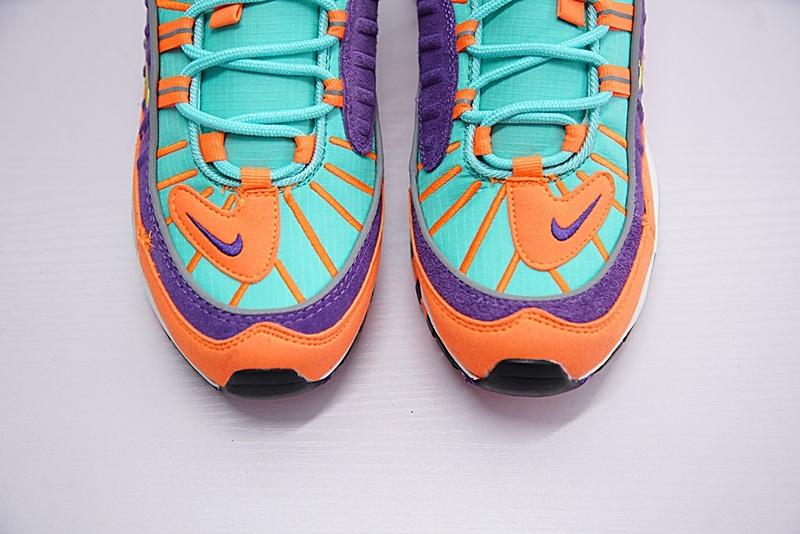 e93bf08f04e8e654fe92db91e503394f - Nike Air Max 98 復古 氣墊 慢跑鞋 橙紫 湖水藍 情侶款 924462-800 1