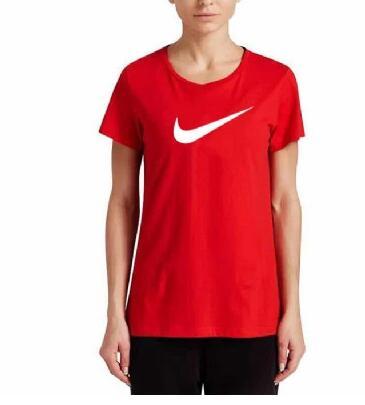 f496920c6a57a394b7231e02755290d6 - NIKE 夏季新款 基礎 純棉T恤 女生 紅色 白勾 運動 透氣 時尚百搭