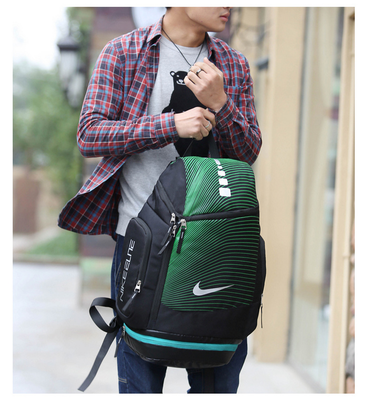 f67c29c2bcd1bec98a1ee07109b47a08 - NIKE 情侶款 雙肩包 帆布 後背包 大容量 黑綠 時尚 百搭 厚19*寬30*高52