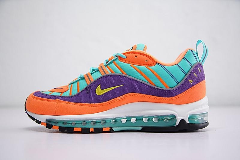 f87da76120cdd66070e97109f4e559a3 - Nike Air Max 98 復古 氣墊 慢跑鞋 橙紫 湖水藍 情侶款 924462-800 1