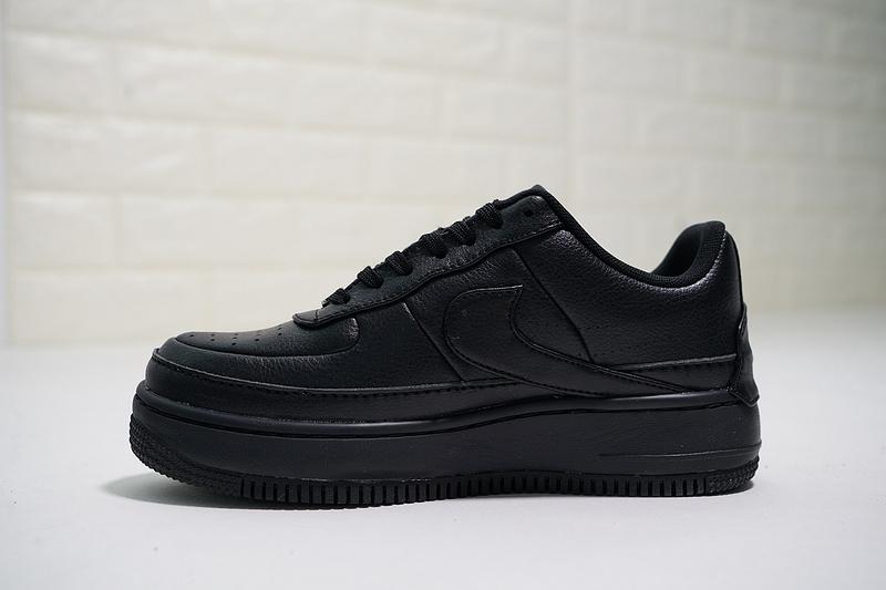 2e4f0f41a313586bc163c10d5533cc57 - Nike Wmns Air Force 輕量 增高 低幫 百搭 休閒板鞋 女生 全黑-熱銷NO1❤️