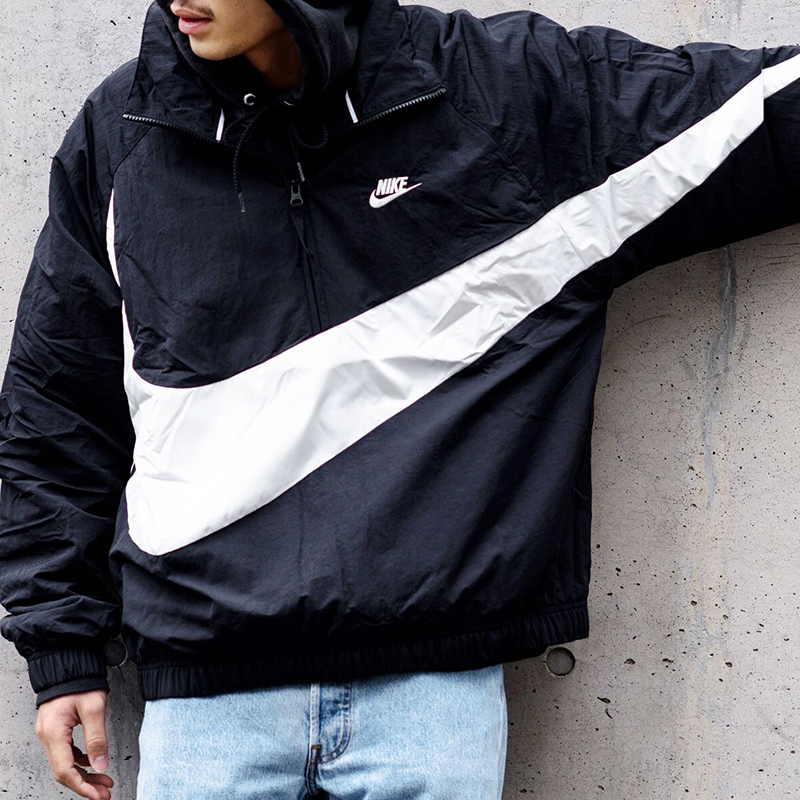 4aabe4be36538fced9b0aa6522c1c486 - Nike 大鉤外套 街舞同款 半拉鏈 男款 運動夾克 黑色 休閒-超潮款❤️