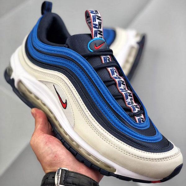 b759ce773d6a37029eeca33439278587 - Nike air max 97 SE PULL TAB 深藍米白 全掌氣墊慢跑鞋 男款-熱銷推薦❤️