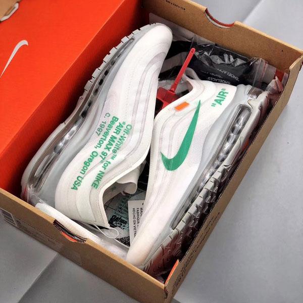 cb68ad04dd7ea1f8d2b5ec8d2a0227f6 - Off-White x Nike Air Max 97 子彈頭 全掌氣墊慢跑鞋 白綠色 男款-秒殺款❤️