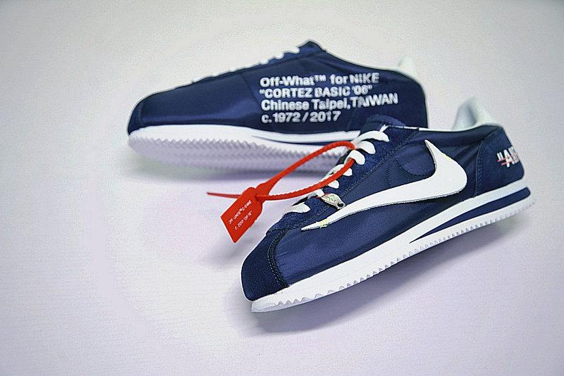 f7fc647f83ee5386bb321b6afbc86cdc - Virgil Abloh x Nike Classic Cortez Leather  OW寶藍 白勾 情侶鞋 AO4693-991