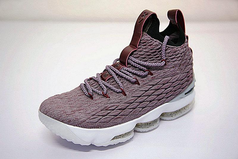 b5d2e2b3fbb136b7 - Nike LeBron 15詹姆斯·勒布朗全新戰靴室內針織中筒籃球鞋系列 淺紫酒紅白潑墨底 897649-201