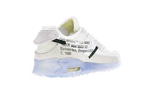 "4cbb24623913905ee1fe8772a1915305 - Virgil Abloh設計師獨立品牌OFF white x Nike Air Max 90 氣墊慢跑鞋""OFF-WHITE 白灰冰藍底""AA7293-100"