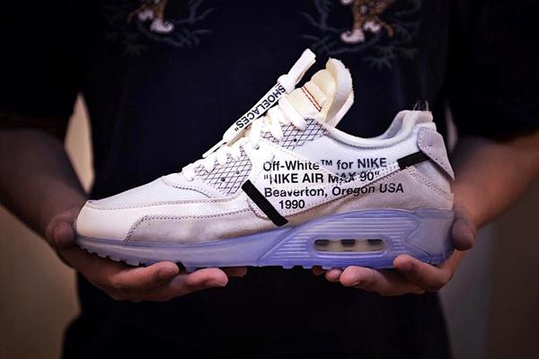 """ae9e6951366dc60dcb4064e008037b29 - Virgil Abloh設計師獨立品牌OFF white x Nike Air Max 90 氣墊慢跑鞋""""OFF-WHITE 白灰冰藍底""""AA7293-100"""