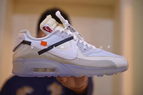 "e14ebaf92fffce6c7544b5e9f4f966fd - Virgil Abloh設計師獨立品牌OFF white x Nike Air Max 90 氣墊慢跑鞋""OFF-WHITE 白灰冰藍底""AA7293-100"