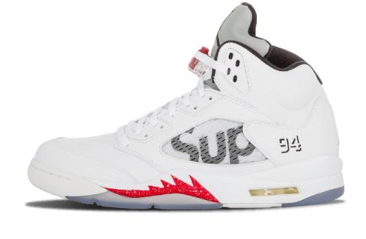3795708937b7d4f7345a3fd313f5256f - Air Jordan 5 Retro Supreme 聯名款 824371 101 白灰 流川楓 男款 籃球鞋