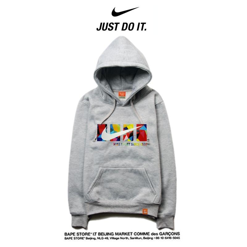 d526e9c482e3265f9dffae4b2a48f5a2 - Nike 薄款 衛衣 寬鬆 長袖 套頭 情侶款 灰色 創意字勾