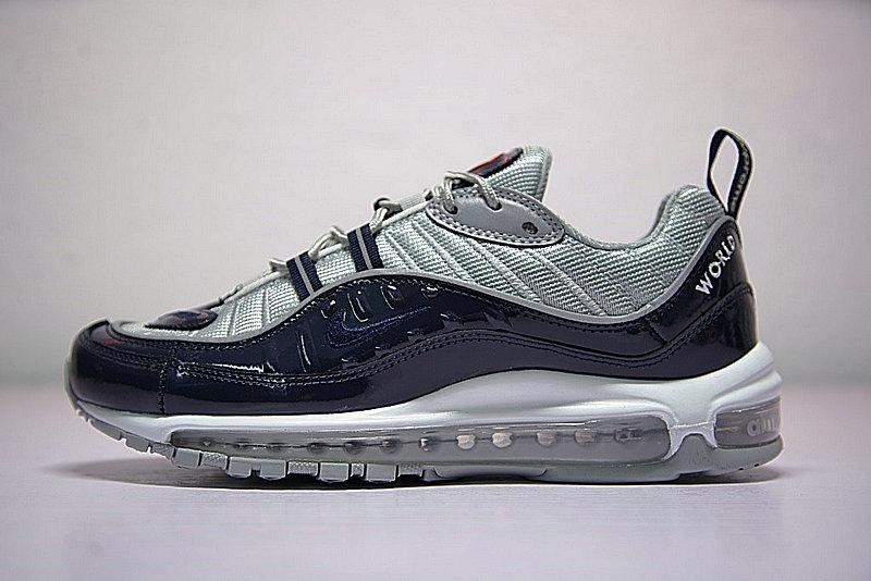 0b8df0375be3c554e584037d42189df6 - Supreme x NikeLab Air Max 98 復古氣墊百搭慢跑鞋 海軍藍灰 844694-400 男鞋