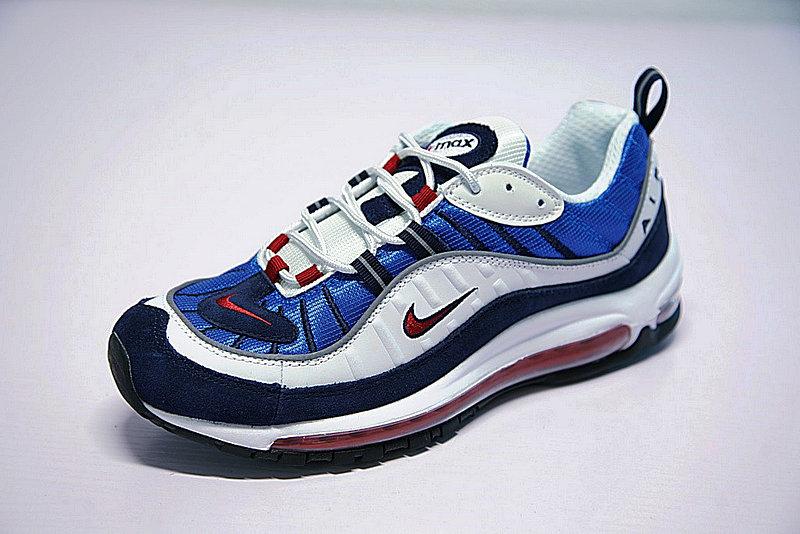0c37ae12e39cb99b8bcdbc0f6f241308 - Nike Air Max 98 復古 氣墊 百搭 慢跑鞋 男鞋 深藍寶 藍白紅 640744-064