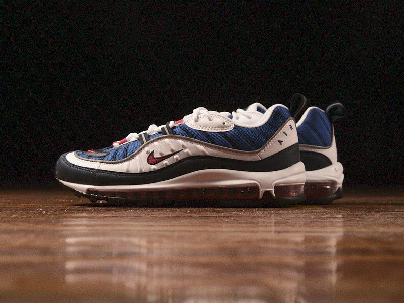 169c26fea806ad7f130da4cfca7bbfaa - Nike Air Max 98 復古 氣墊 百搭 慢跑鞋 男鞋 深藍寶 藍白紅 640744-064