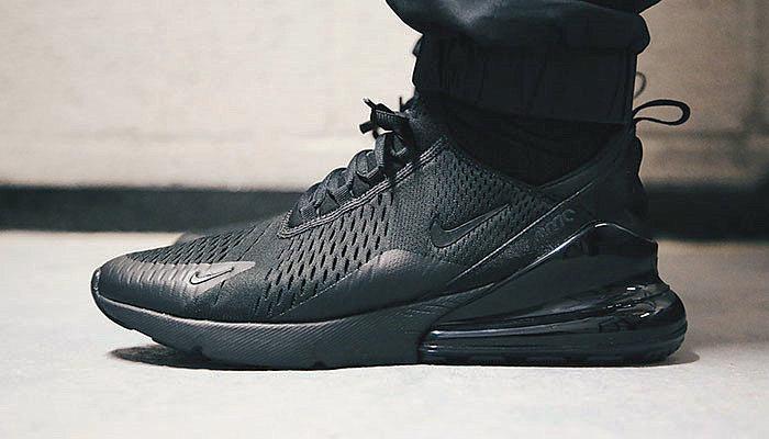 271208ae0491d7891923cc75f3b135e1 - 男女鞋 Nike Air Max 270系列後跟半掌氣墊慢跑鞋 Triple Black 全黑 AH8050-001