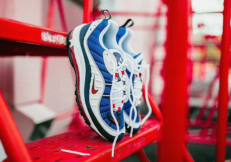 4517b6a736dec985a771335be1df98cd - Nike Air Max 98 復古 氣墊 百搭 慢跑鞋 男鞋 深藍寶 藍白紅 640744-064