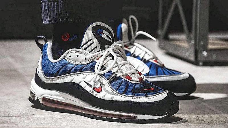 73e79726c09dc73862d683957f283e5a - Nike Air Max 98 復古 氣墊 百搭 慢跑鞋 男鞋 深藍寶 藍白紅 640744-064