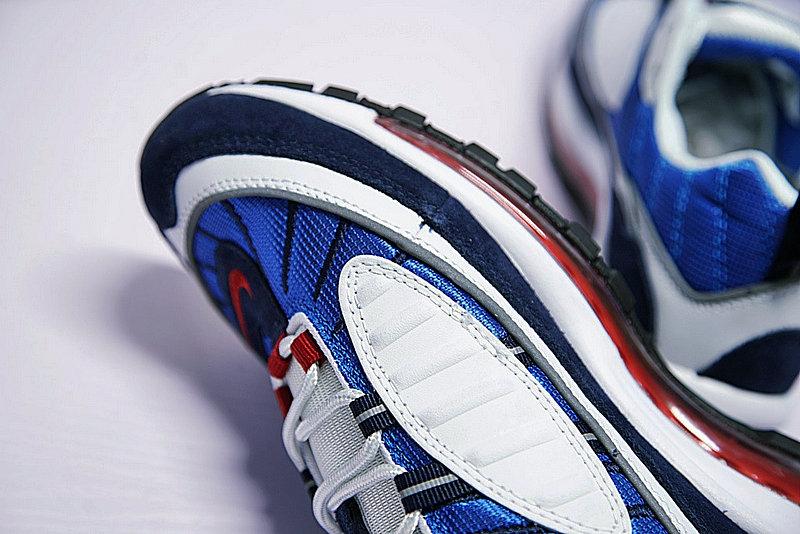 880e6ae03fd347176b553bf42397a234 - Nike Air Max 98 復古 氣墊 百搭 慢跑鞋 男鞋 深藍寶 藍白紅 640744-064